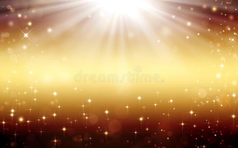Guld- festlig fantasi, bakgrund med stjärnor och strålar stock illustrationer