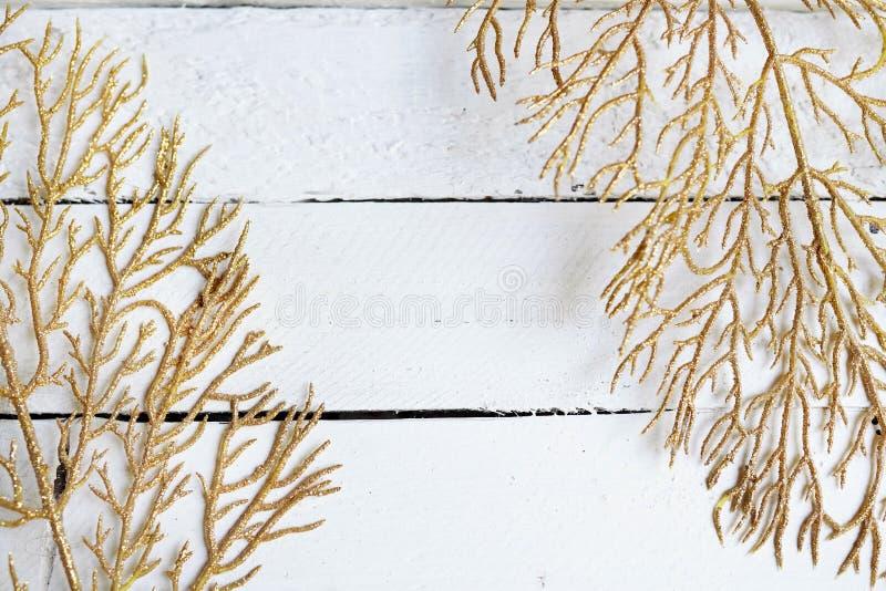 Guld- filialer, gula sidor på en vit träbakgrund med kopieringsutrymme plan orientering, b?sta sikt royaltyfri foto