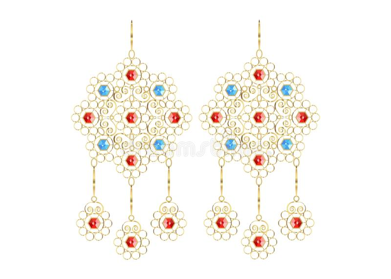 Guld- filigranörhängen, smyckensymboler för Shop och mode lagrar, isolerad eller vit bakgrund royaltyfri illustrationer