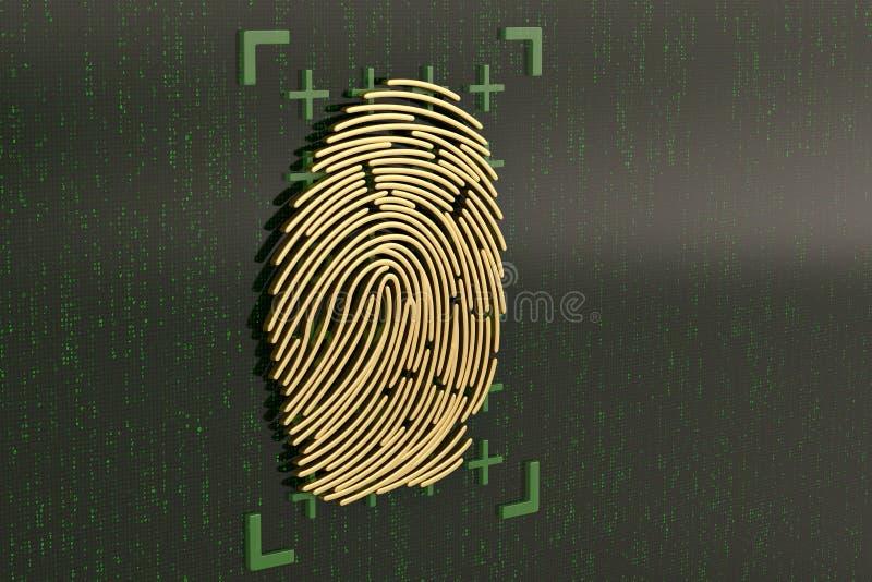 Guld- fingeravtryck på den gröna digitala skärmen illustration 3d vektor illustrationer