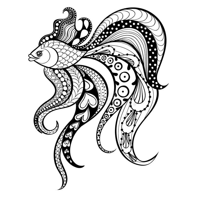 Guld- fisk för Zentangle vektor för tatuering i bohoen, hipsterstil eller royaltyfri illustrationer