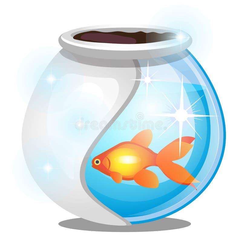 Guld- fisk inom ett runt exponeringsglasakvarium som isoleras p? vit bakgrund Illustration f?r vektortecknad filmn?rbild stock illustrationer