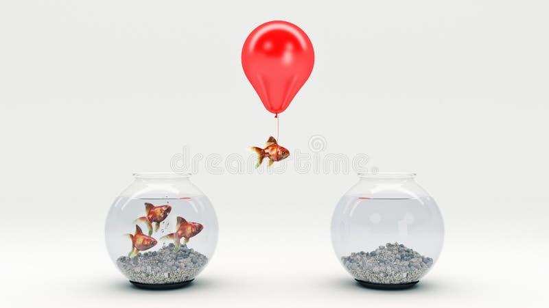 Guld- fiskflyg i väg från en fishbowl med hjälpen av en ballong vektor illustrationer