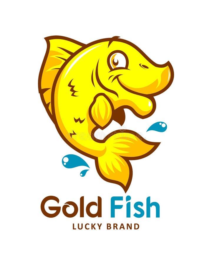 Guld- fisktecknad filmemblem stock illustrationer