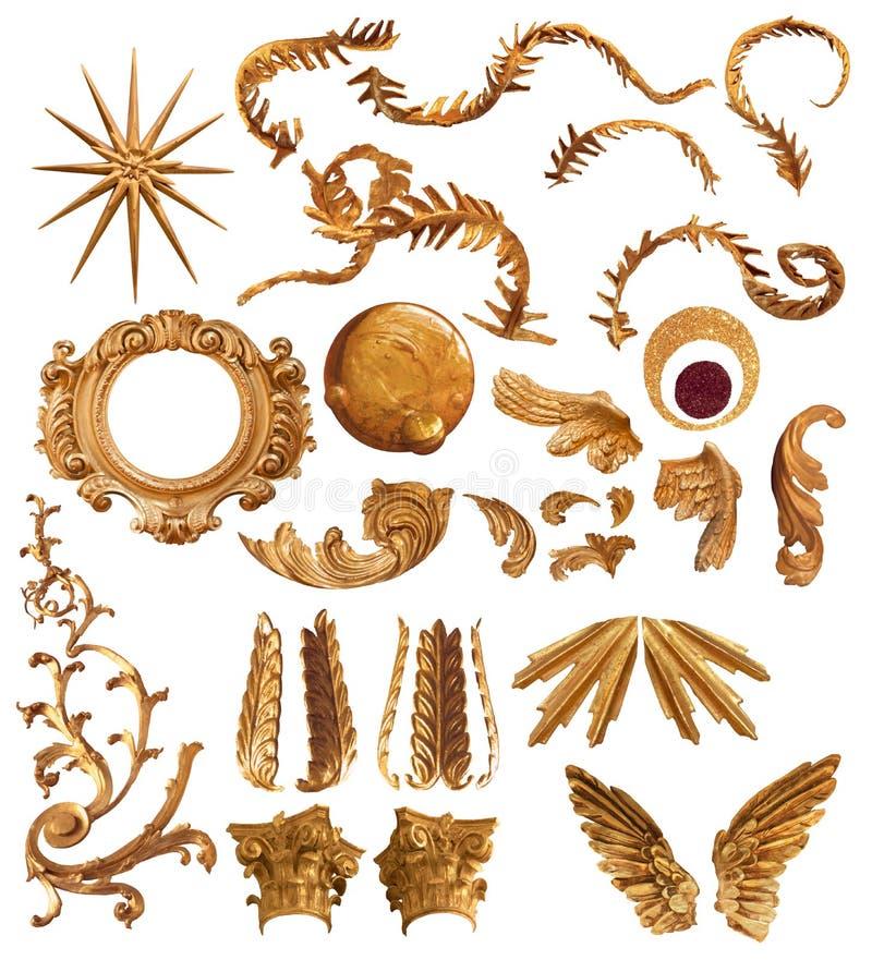 Guld- fjäderbeståndsdelar stock illustrationer
