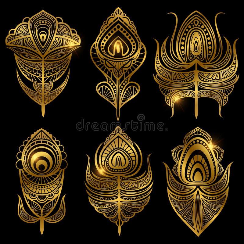 Guld- fjädervektor som isoleras på svart bakgrund royaltyfri illustrationer
