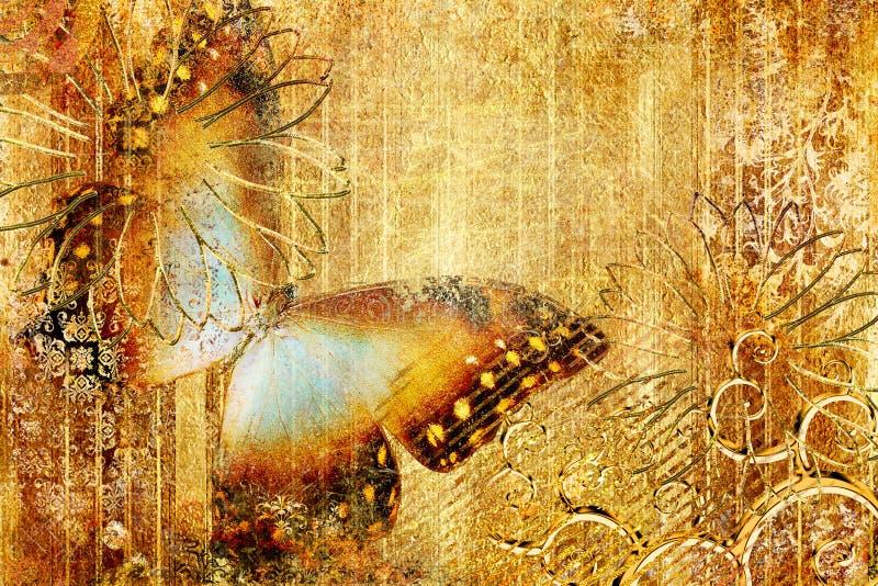 guld- fjäril royaltyfri illustrationer