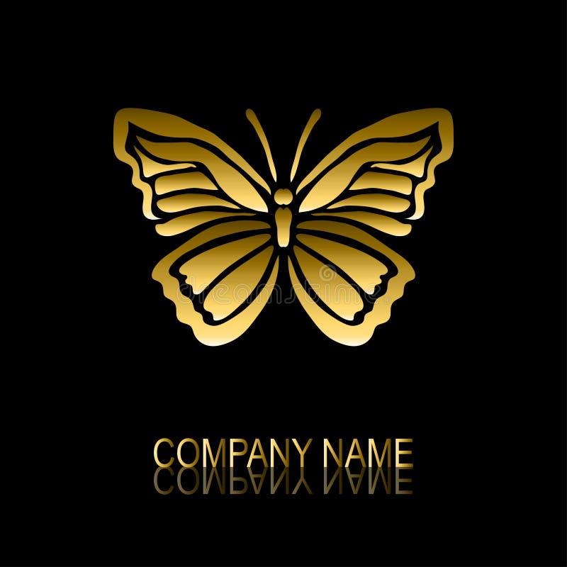 Guld- fjärilssymbol stock illustrationer