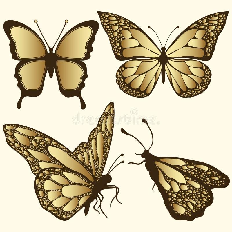 Guld- fjärilsuppsättning Lyxig design, dyra smycken, brosch Exotiskt mönstrat kryp, tatuering, dekorativ beståndsdel Vektor Illus royaltyfri illustrationer