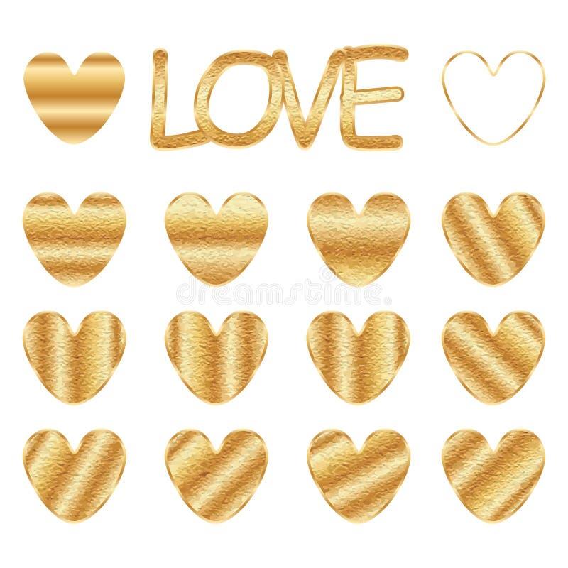Guld- fläckuppsättning för förälskelse royaltyfri illustrationer