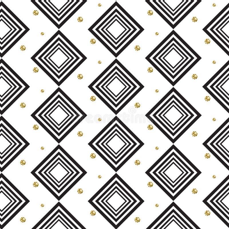 Guld- folie blänker den sömlösa modellen för polkadot- och svartromber royaltyfri illustrationer