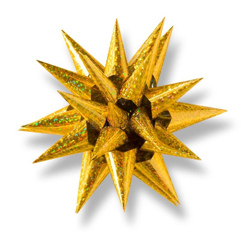 guld- formad stjärna för bow royaltyfri foto