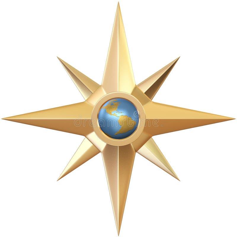 guld- forntida kompass royaltyfri illustrationer