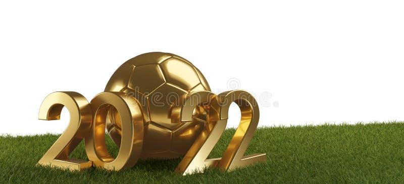 2022 guld- fotbollboll med djärva bokstäver 3d-illustration vektor illustrationer