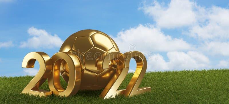 2022 guld- fotbollboll med djärva bokstäver 3d-illustration royaltyfri illustrationer
