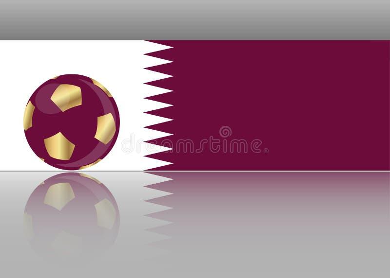 Guld- fotbollfotbollbegrepp och flagga av Qatar, för vektor för abstrakt baner för QATARISK bakgrund för bakgrund för mall isoler stock illustrationer