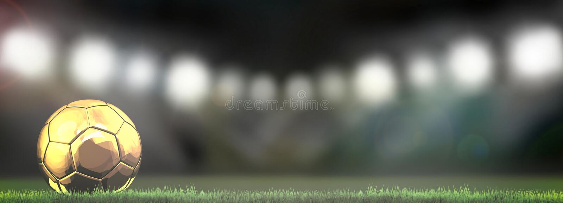Guld- fotbollfotbollboll i stadion 3d stock illustrationer