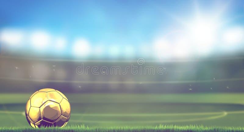 Guld- fotbollfotbollboll i stadion 3d vektor illustrationer
