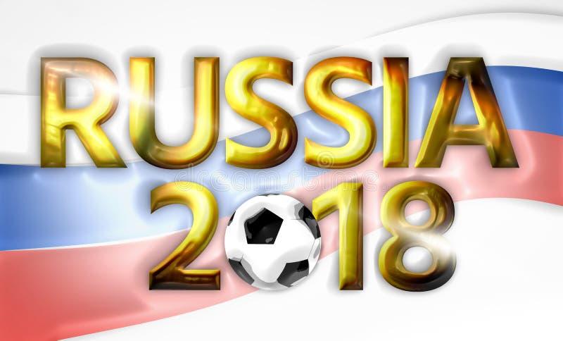 Guld- fotbollfotoballRyssland ryss 2018 3d framför stock illustrationer