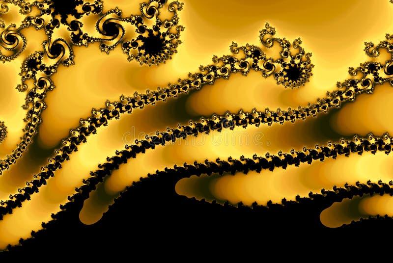 Guld- fractalslag för blixt med copyspace ner royaltyfri illustrationer