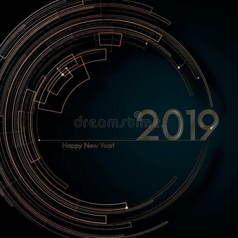 Guld- futuristiska linjer för cirkel 2019 inbjudningar för kort för blå för bakgrund för nytt år modern idérik beståndsdel för de vektor illustrationer