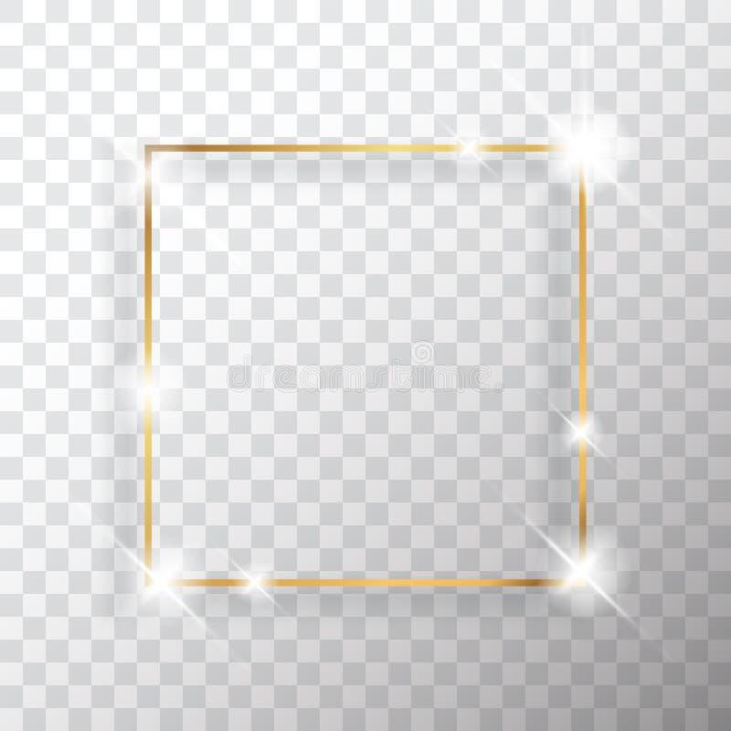 Guld- fyrkantig ram eller guld- lyxig rektangulär gräns stock illustrationer