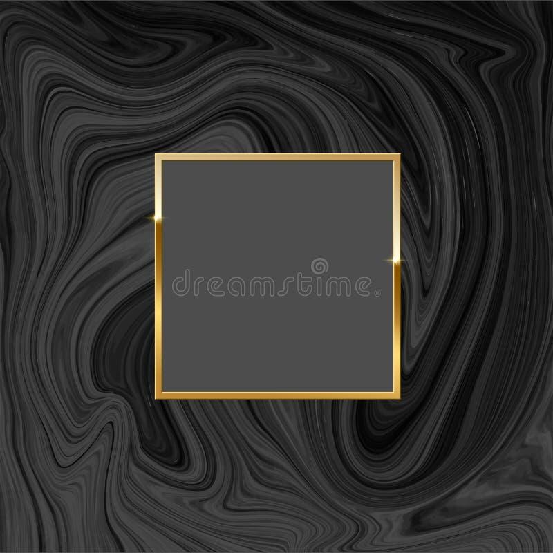 Guld- fyrkantig ram på svart marmorbakgrund den lätta designen redigerar elementet till vektorn royaltyfri illustrationer