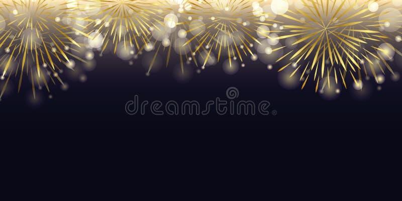 Guld- fyrverkeri i den mörka nattberömmen stock illustrationer