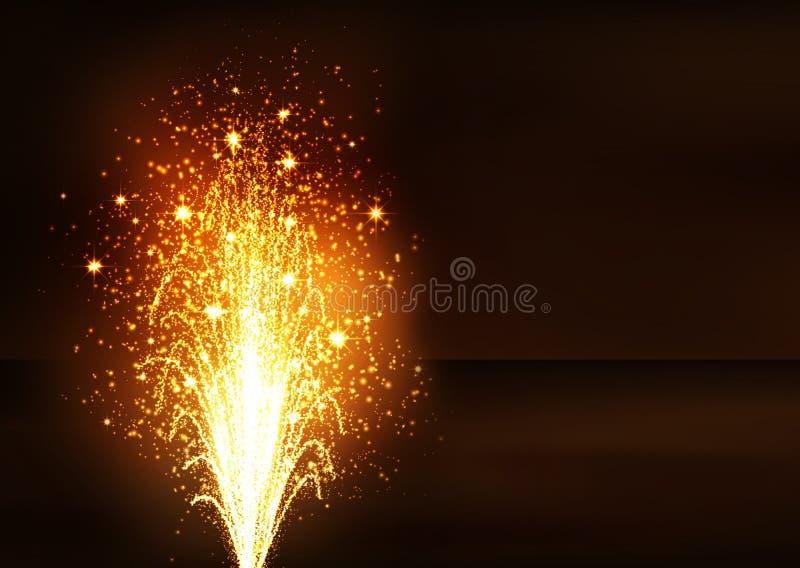 Guld- fyrverkeri Volcano Fountain - helgdagsafton för nya år stock illustrationer