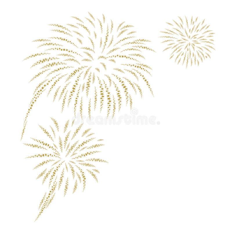 Guld- fyrverkerier på den vita bakgrundsvektorillustrationen royaltyfri illustrationer