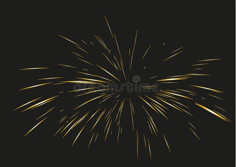 Guld- fyrverkerier som dras av linjer vektor illustrationer