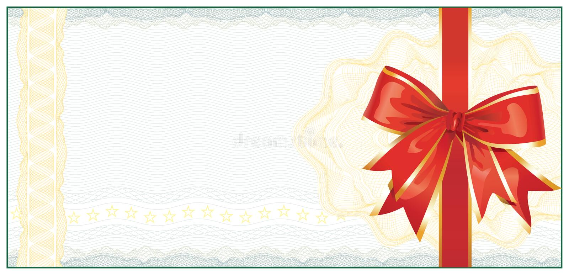 guld- gåva för certifikatkupongrabatt royaltyfri illustrationer
