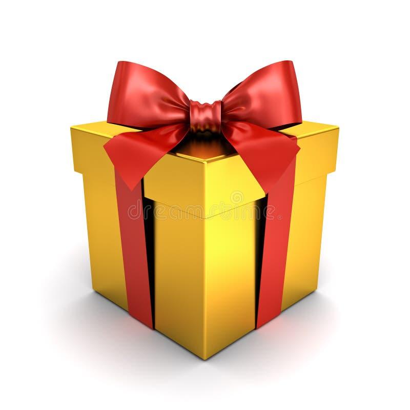 Guld- gåvaask eller närvarande ask med den röda bandpilbågen som isoleras på vit bakgrund med skugga arkivfoton