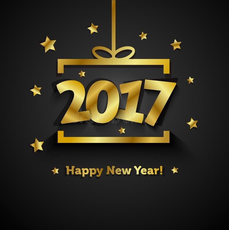 Guld- gåvaask med 2017 hälsningkort för lyckligt nytt år stock illustrationer