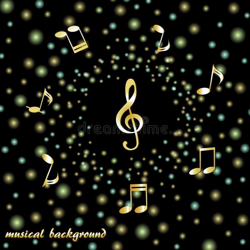 Guld- G-klav och musikaliska anmärkningar på en bakgrund av ljusa konfettier vektor illustrationer