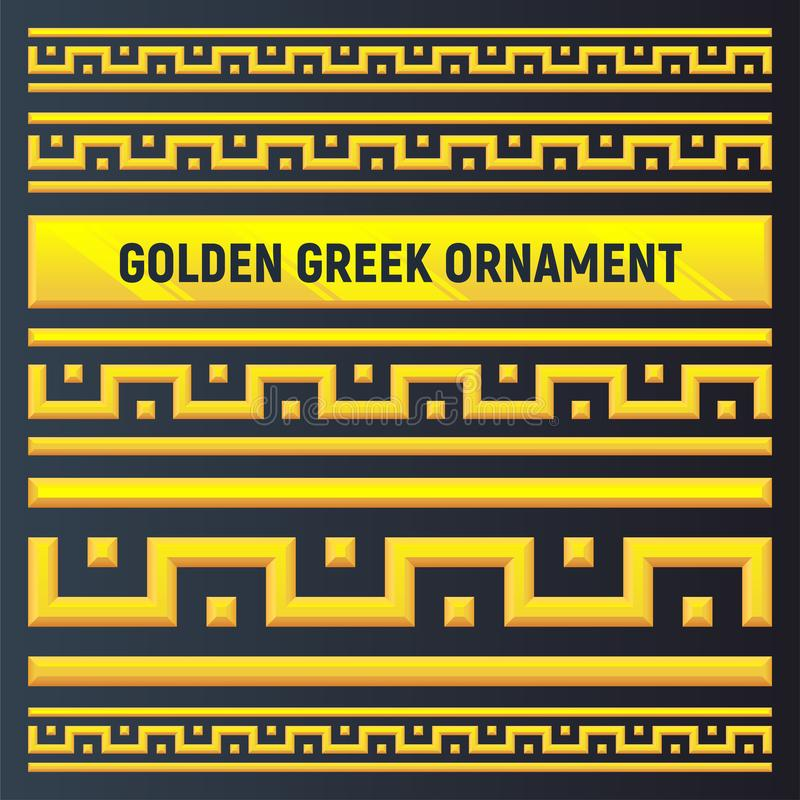 Guld- gammalgrekiskaprydnad royaltyfri illustrationer