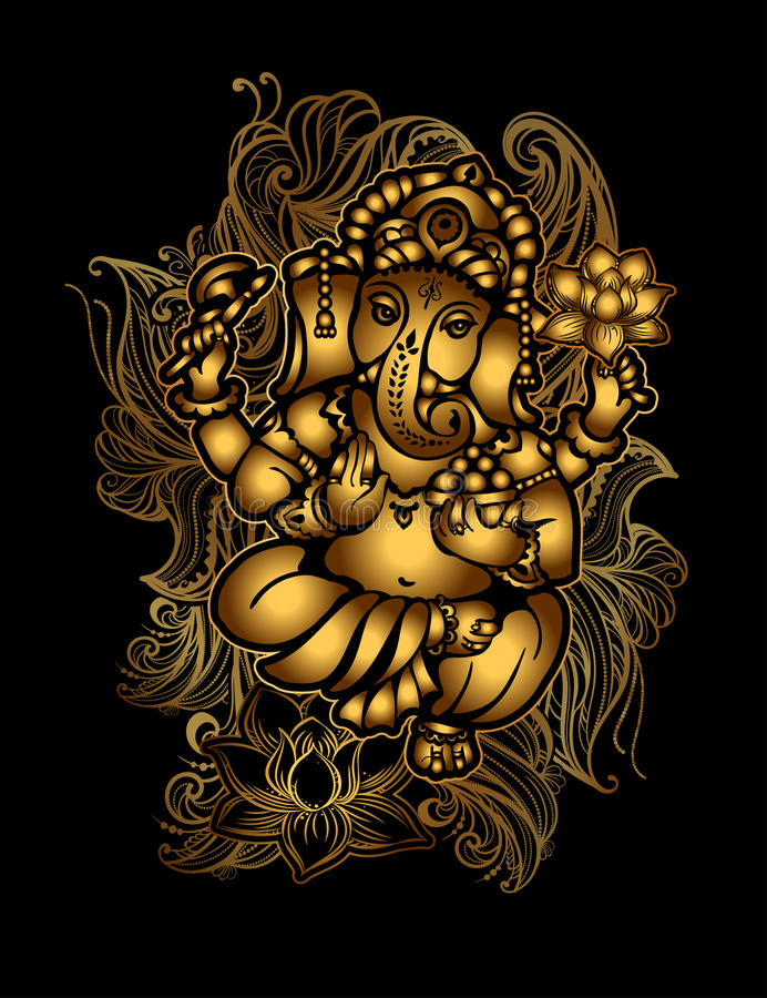 Guld- Ganesha 24 stock illustrationer