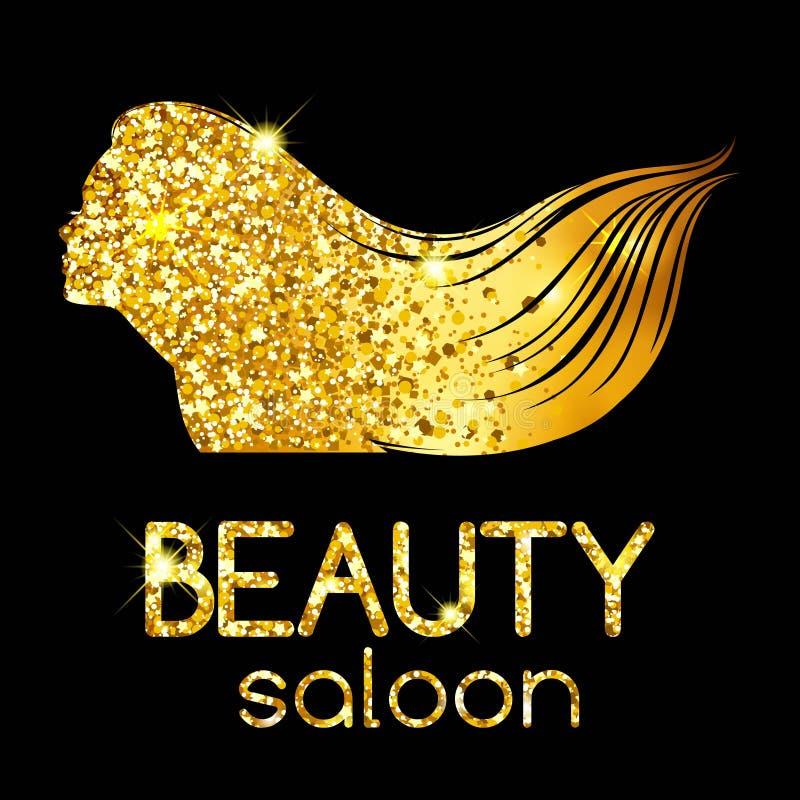 Guld- garnering av en skönhetsalong, flickaöversiktskonturn som vinkar hennes hår, ljus illustration vektor vektor illustrationer