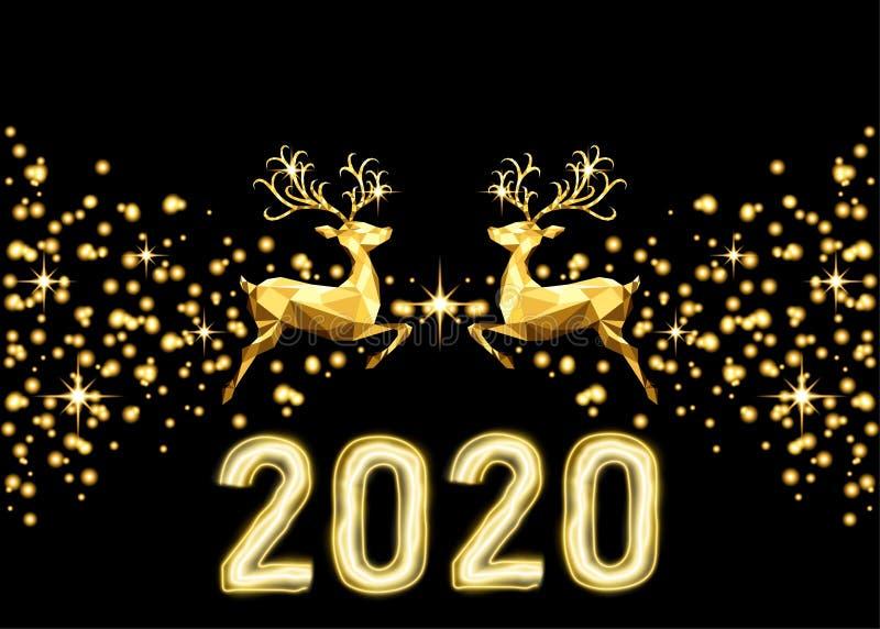 Guld- garnering för nytt år 2020 med renen, ljus effekt för neon stock illustrationer
