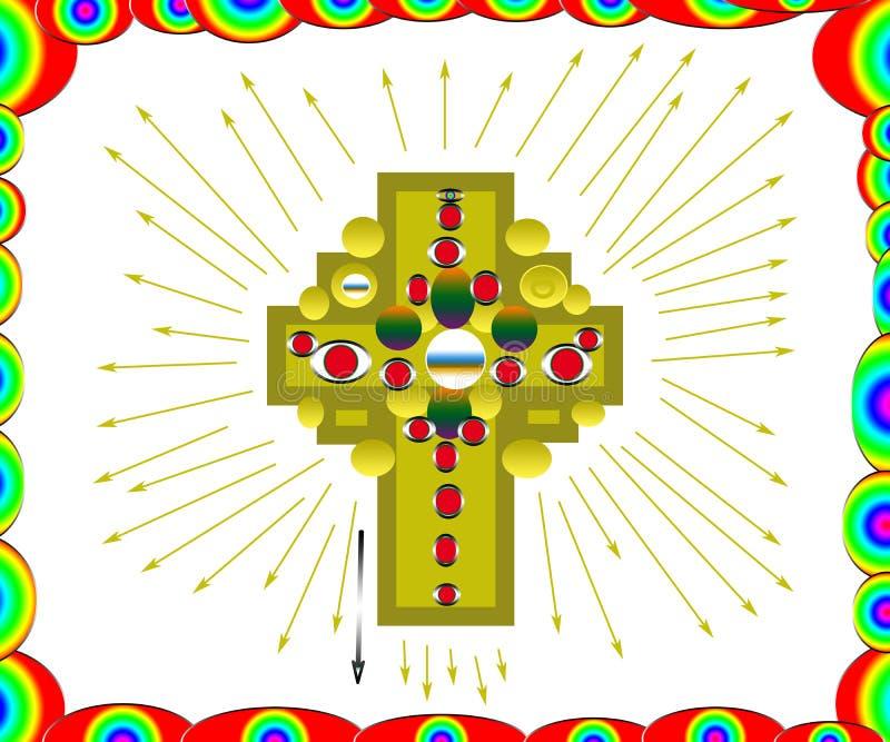 Guld- garneringkorslogo med diamanter stock illustrationer
