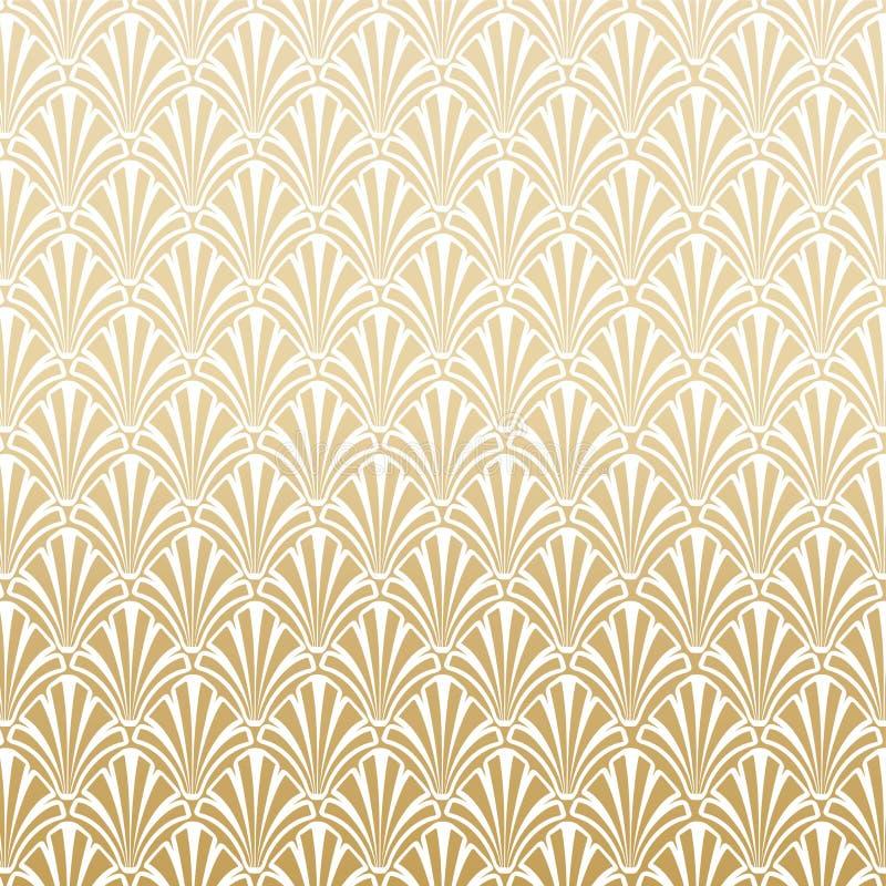 Guld- Gatsby Art Deco Pattern Background Design stock illustrationer