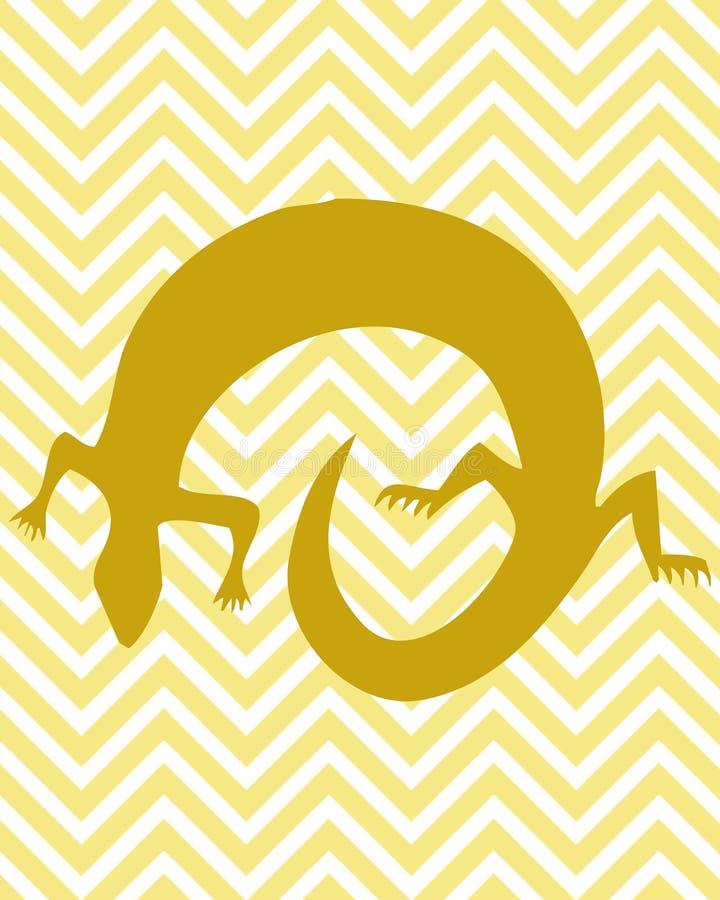 Guld- gecko stock illustrationer