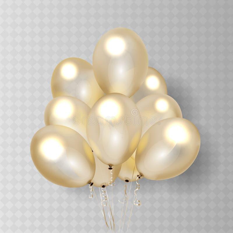 Guld- genomskinlig ballong p? bakgrund Det frostade partiet sv?ller f?r h?ndelsedesign Ballonger som isoleras i luften stock illustrationer