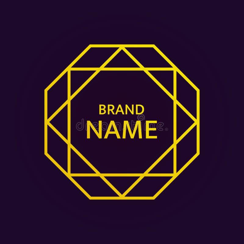 Guld- geometrisk logodesign Islamstjärnalogotyp Vektorbeståndsdel i östlig stil Guld- octahedron med stjärnan för David ` s på mö stock illustrationer