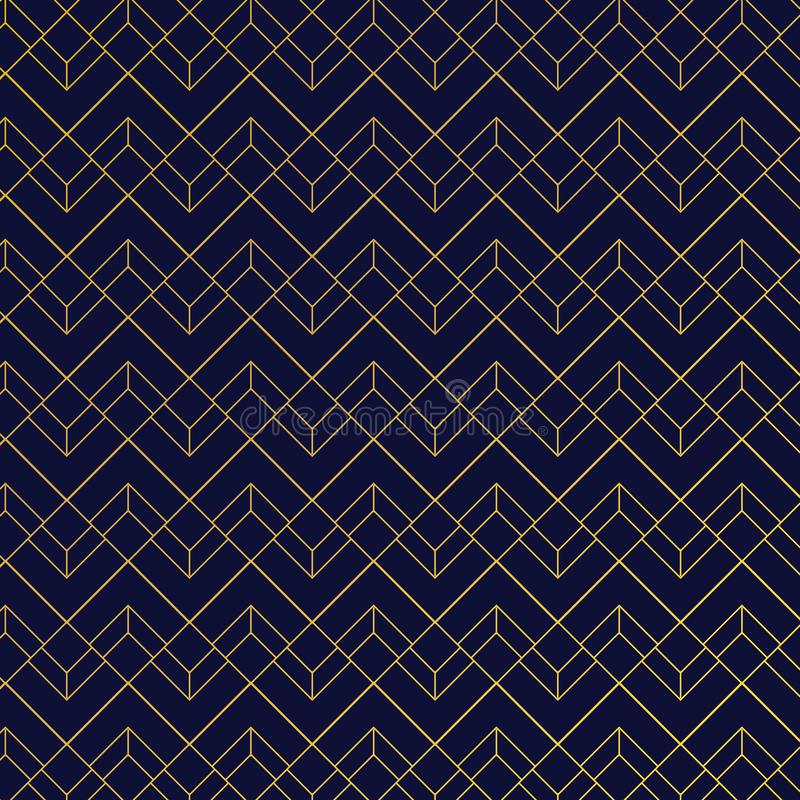Guld- geometrisk modell med linjer på mörkt - blå bakgrundsart décostil vektor illustrationer