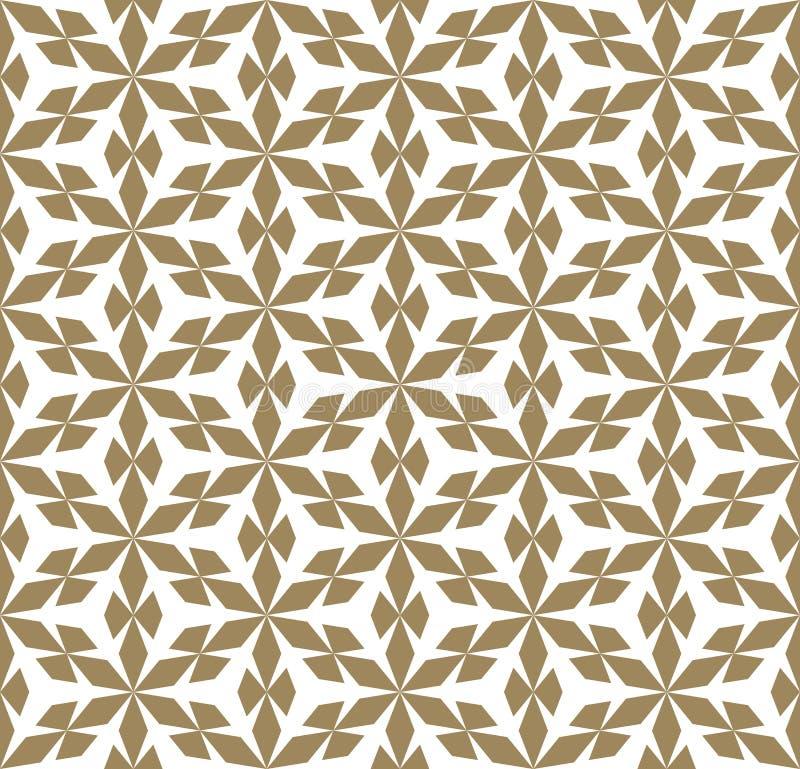 Guld- geometrisk s?ml?s modelltextur f?r vektor med blommaformer, sn?flingor royaltyfri illustrationer