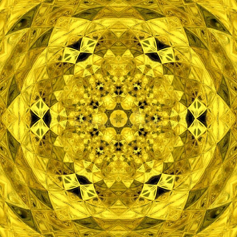 Guld- geometrisk triangelmandala i guling och svart royaltyfri illustrationer