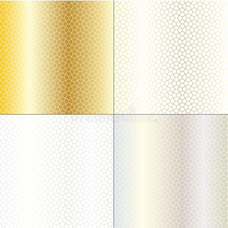 Guld- geometriska modeller för silver royaltyfri illustrationer