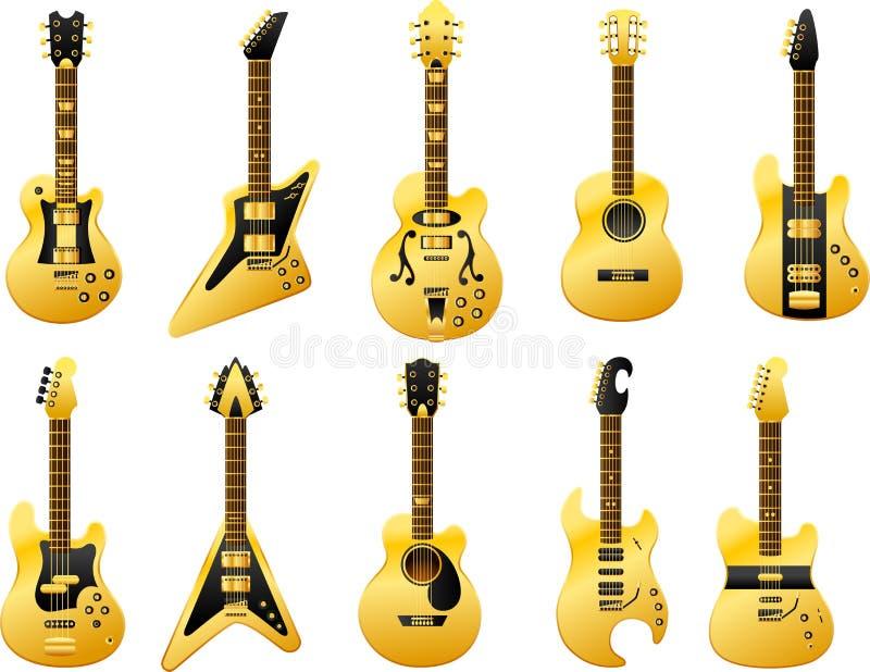 Guld- gitarrer vektor illustrationer