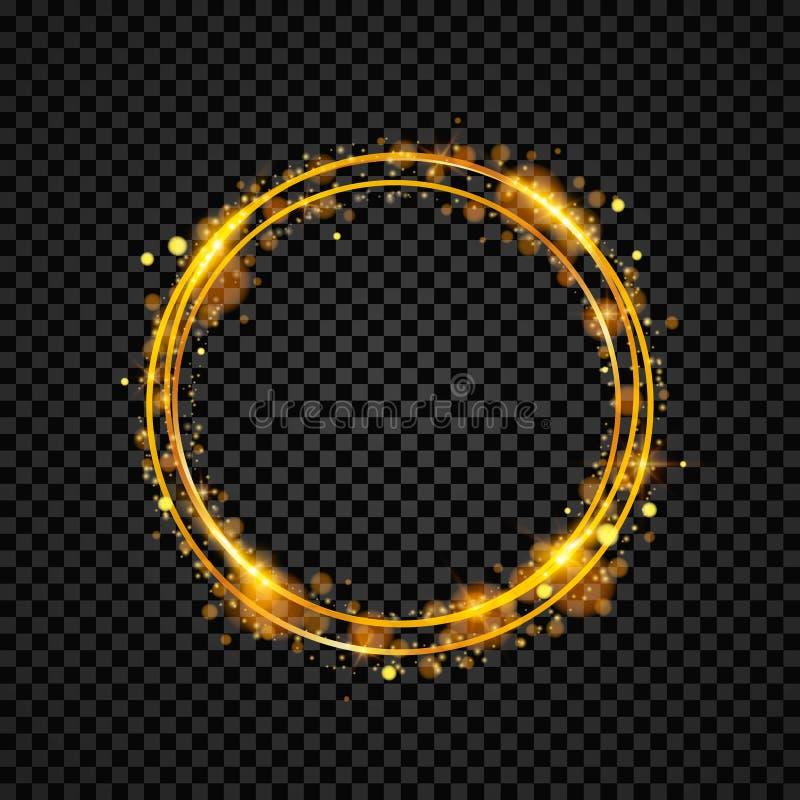 Guld- glänsande runt baner guld- cirkel Ljuseffekter Gnistrandecirkelram också vektor för coreldrawillustration vektor illustrationer